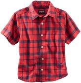 Osh Kosh Check Woven Shirt (Toddler/Kid) - Red-5