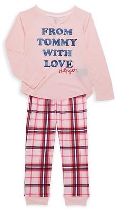 Tommy Hilfiger Girl's 2-Piece Graphic Top Plaid Pants Pajama Set