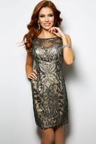 Jovani Metallic Pattern Sleeveless Sheath Cocktail Dress 24561