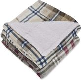 London Fog Printed Plaid Supreme Velvet with Sherpa Reverse Throw Blanket