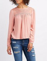 Charlotte Russe Embroidered Yoke Babydoll Blouse
