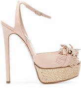 Casadei fringed strap platform sandals - women - Leather/Kid Leather - 35.5