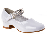 Josmo White Patent Embellished-Strap Mary Jane