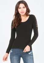 Bebe Lace Up Sleeve Ribbed Top
