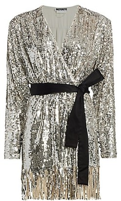 Rotate by Birger Christensen Samantha Sequin Fringe A-Line Wrap Dress
