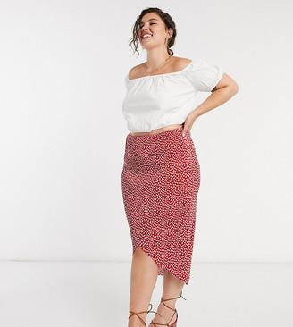 ASOS DESIGN Curve plisse wrap midi skirt in spot print