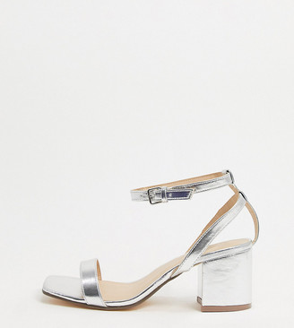 London Rebel Wide Fit mid heeled sandals in silver