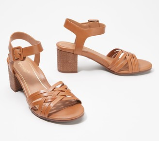 Vionic Ankle Strap Woven Block Heeled Sandals - Peony