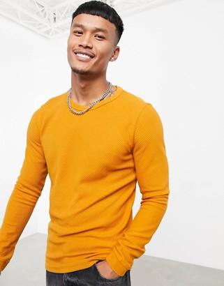 Bershka crew neck fine knit jumper in orange