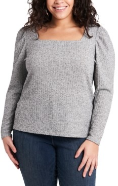 1 STATE Trendy Plus Size Metallic Ribbed Puff-Sleeve Top