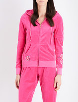 Juicy Couture Robertson floral-embroidered velour hoody