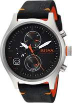 HUGO BOSS BOSS Orange Men's 'Amsterdam' Quartz Stainless Steel and Leather Casual Watch, Color: