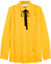 Gucci Ruffled Silk Shirt - Mustard