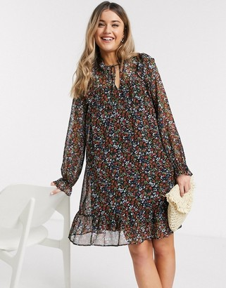 Pieces chiffon swing dress with tie neck in mixed ditsy floral