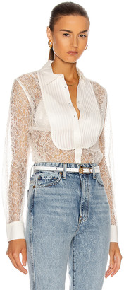 Fleur Du Mal Lace Oversized Pintucked Shirt in Ivory | FWRD