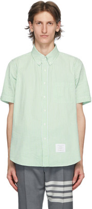 Thom Browne Green Seersucker Short Sleeve Shirt