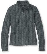 L.L. Bean Women's Double L Cotton Sweater, Zip-Front Cable Cardigan Marled