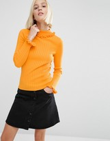 Asos Sweater In Rib With Ruffle Neck