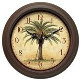 Infinity Instruments Palm Tree Cabana Wall Clock