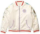 Stella McCartney Satin Bomber with Flower Embroidery (Toddler/Little Kids/Big Kids) (Ivory Mult) Girl's Clothing