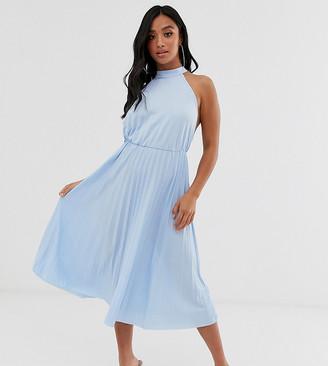 Asos DESIGN Petite Halter Pleated Waisted Midi Dress