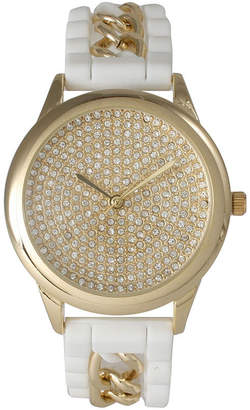 Olivia Pratt Womens Gold-Tone Rhinestone Dial White Silicone Band With Chainlink Accents Watch 8213