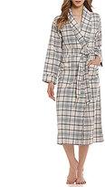 Sleep Sense Shadow Plaid Flannel Long Wrap Robe