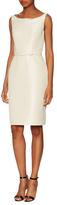 Oscar de la Renta Boatneck Belted Sheath Dress