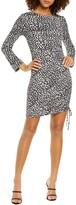 Fraiche by J Animal Print Ruched Long Sleeve Dress