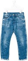 Diesel distressed splatter detail carrot jeans