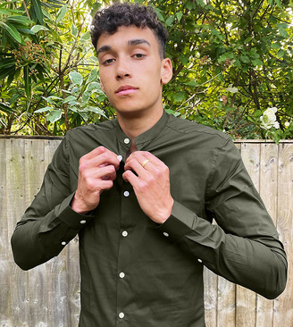 ASOS DESIGN Tall skinny fit shirt in khaki in grandad collar