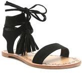 Qupid Lace-Up Tasseled Flat Gladiator Sandals