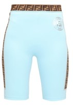 Fendi Ff-logo Stripe Cycling Shorts - Womens - Light Blue