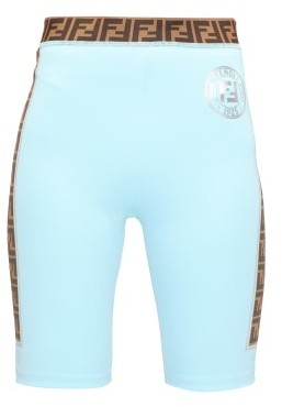 Fendi Ff-logo Stripe Cycling Shorts - Light Blue