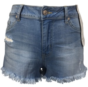 Rewash Juniors' Curvy-Fit Frayed Denim Shorts