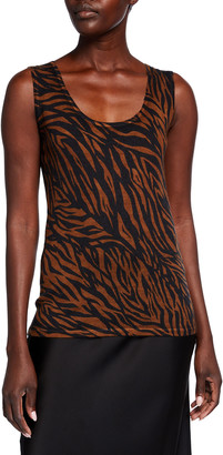 Neiman Marcus Superfine Tiger Striped Cashmere Tank