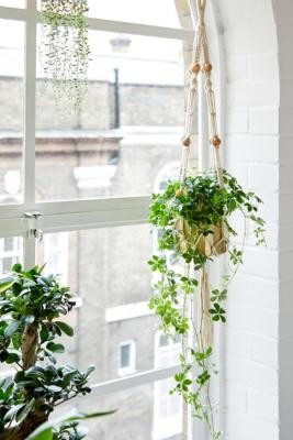 Urban Outfitters Macrame & Bead Hanging Planter - Beige ALL at