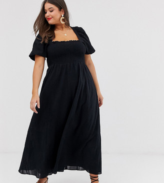 Asos DESIGN Curve shirred bustier maxi dress with puff sleeve in seersucker