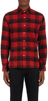 Barneys New York Men's Plaid Cotton Flannel Shirt-RED
