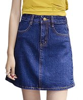 Bess Bridal Women's A Line Zipper Fly Belt Loops Short Denim Skirt 2X-Large
