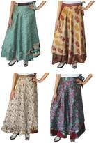 Maple Clothing Wholesale 4 Pcs Lot Two Layers Women's Indian Sari Magic Wrap Around Long Skirt