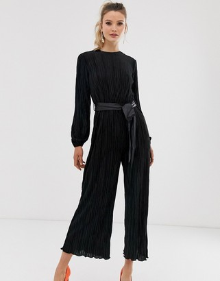 Closet London Closet pleated wide leg jumpsuit