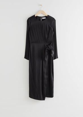 And other stories Satin Side Knot Midi Dress