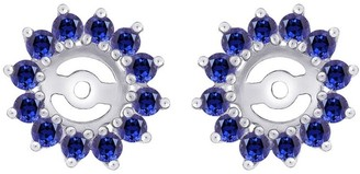 Shah Diamonds 14K White Gold 1 3/8ct TDW Blue Sapphire Jacket Earrings