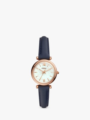 Fossil Women's Carlie Leather Strap Watch