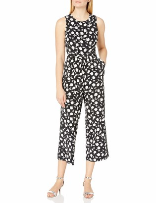 Vince Camuto Women's Sleeveless Floral Shadows Belted Jumpsuit