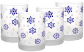 Culver Blue/White Frosted Blue Snowflake Glass - Set of 4