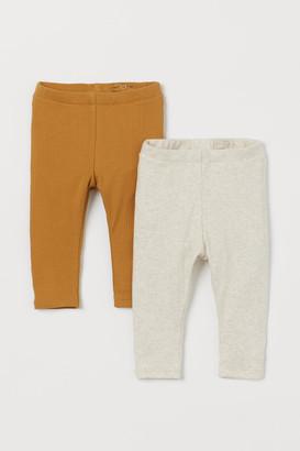 H&M 2-pack Ribbed Leggings - Yellow