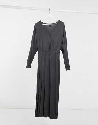 Y.A.S Winea wrap front maxi dress in gray