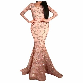 Hulky Women's Dresses HULKY Women's Elegant Floral Lace Long Sleeve Wedding Embroidery Sequin Mermaid Dress Evening Party Formal Maxi Dress Pink